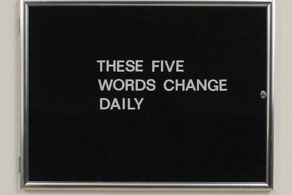The Five Word Phrase Calendar (Executive Hinged Door Case version), by Micah Lexier