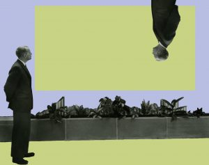 A man in a suit stands on a lime green floor looking at a large flat lime green rectangle on a lavender wall. A mirror image of the man appears upside down, extending into the lime green rectangle from above.