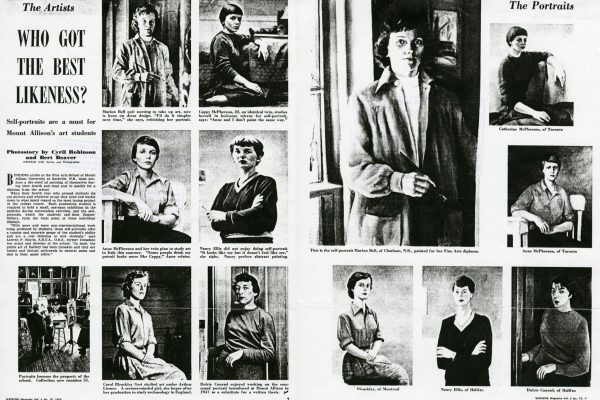 1956 article from Weekend Magazine comparing photos of graduates to their self-portraits. Graduate Self-Portraits from 1951, 1956 and 1961