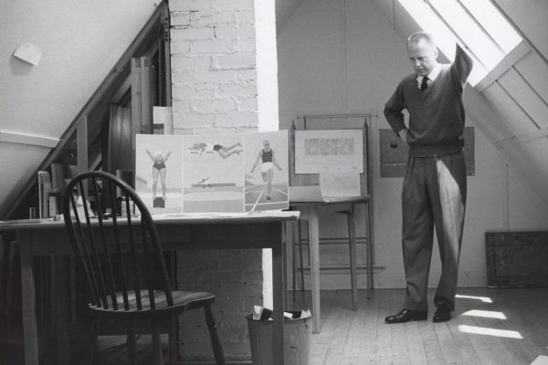 Colville in his attic studio in 76 York Street (now the @ColvilleHouse) with a few of the preparatory drawings for Athletes