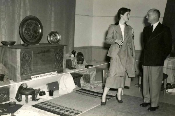 Marion McNair with her father, John B. McNair at her graduation exhibition at the Owens, 1951
