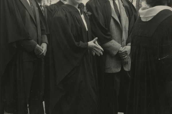 Mary Pratt about to graduate from Mount Allison University, 1961. Image courtesy of the Mount Allison University Libraries and Archives