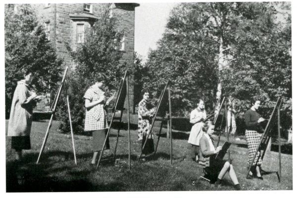 Mount Allison University's 1937 Outdoor Sketching class, painting outdoors on another beautiful summer day.