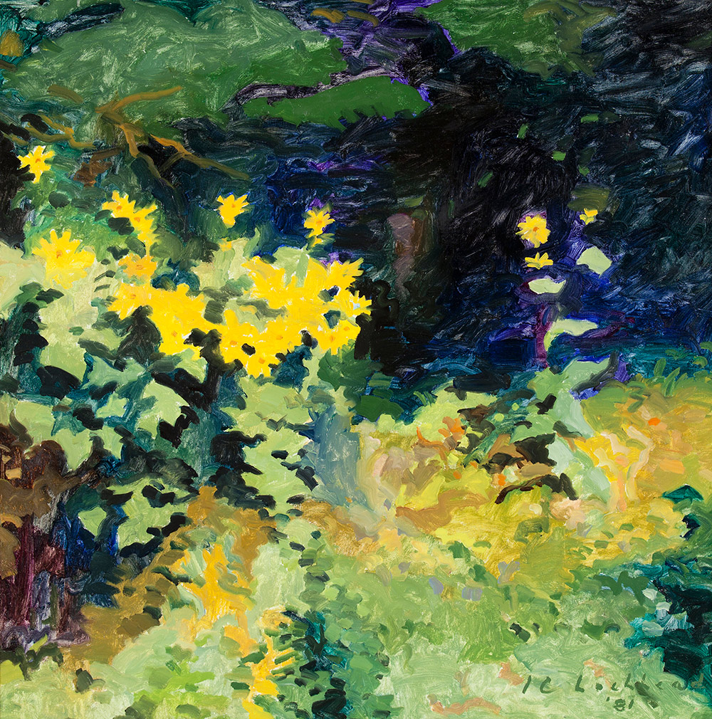 Bright green foliage of various shades and hues fills much of the foreground of this painting. On the left is a cluster of yellow flowers, while to the right we look into an area of deep blue and shadowy black, flecked with purple. The image is painted in loose, visible brush strokes.