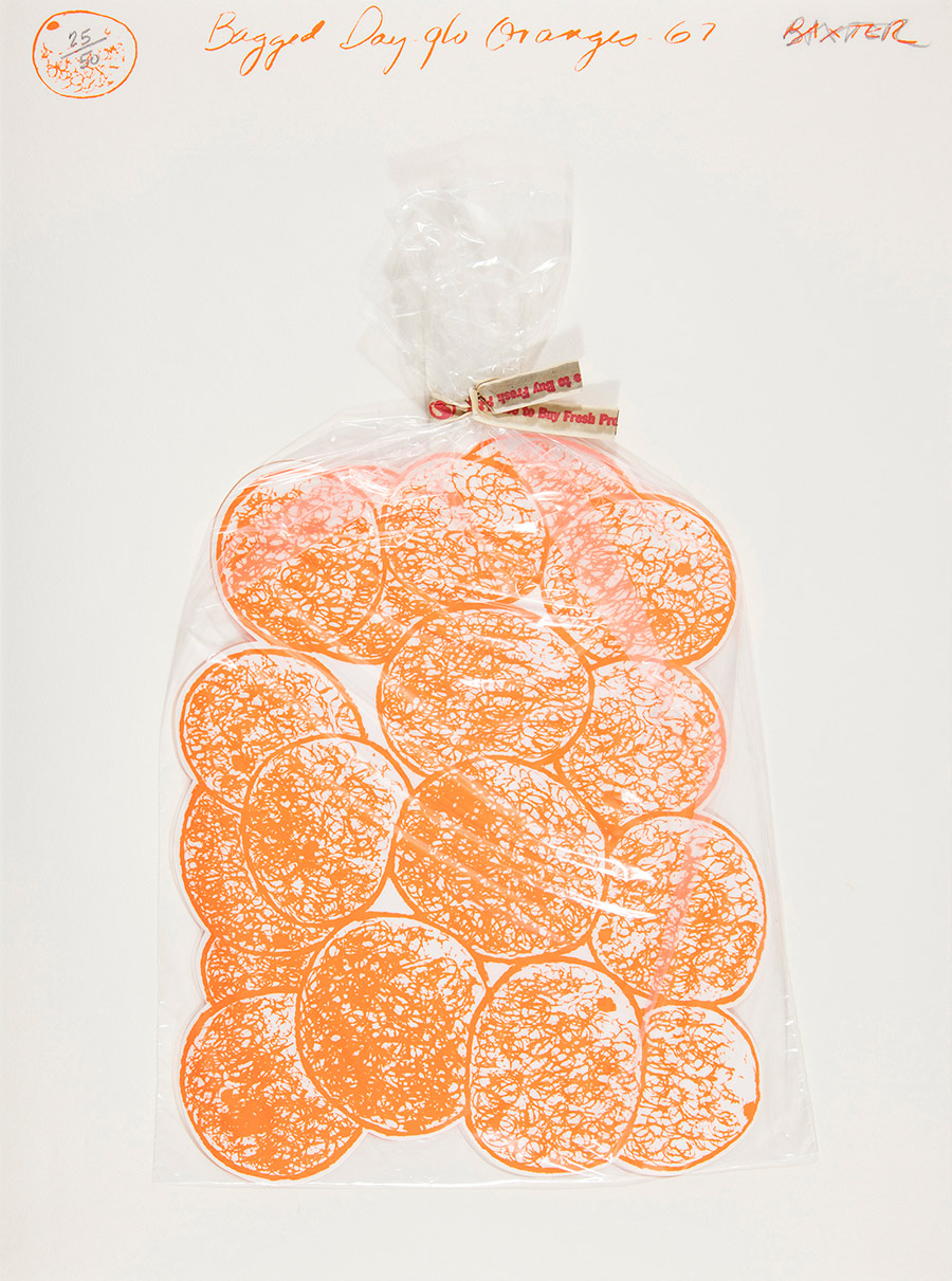 """A cut-out print of neon-coloured oranges is held inside a clear plastic bag against a white background. The oranges are simply drawn and teh bag is fastened with a produce twist tie. Handwriting across the top of the print reads """"Bagged Day glo Oranges 67""""."""