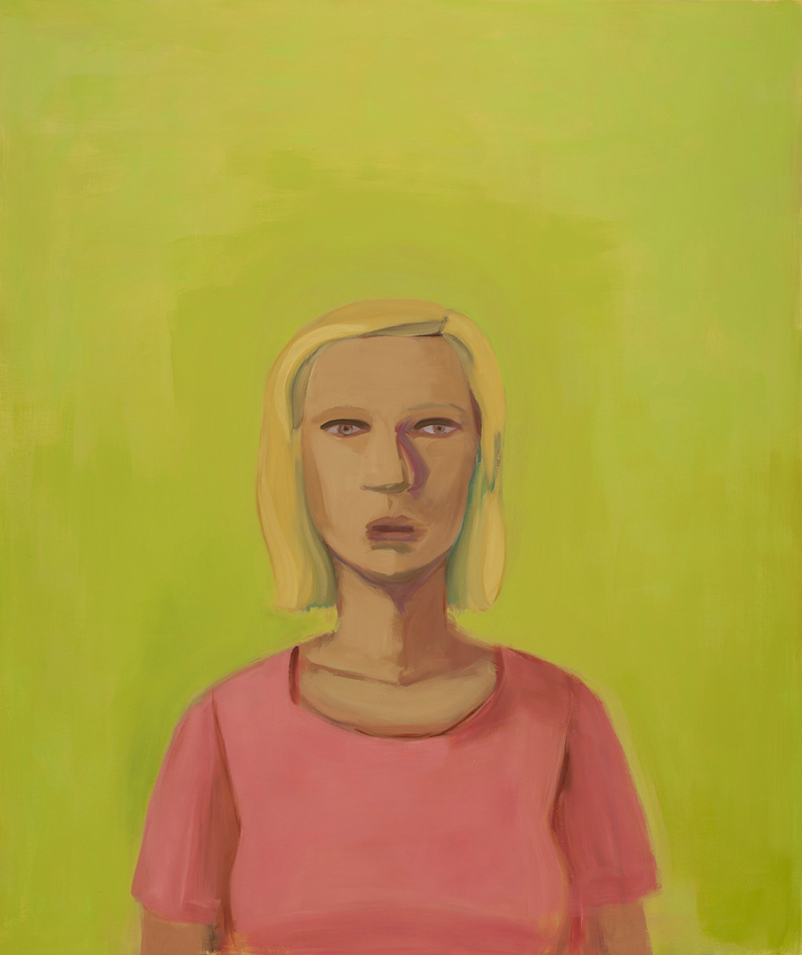 A person with a blank expression looks straight ahead, behind them is a flat yellow-green background. They are wearing a pink t-shirt and have chin-length blonde hair.