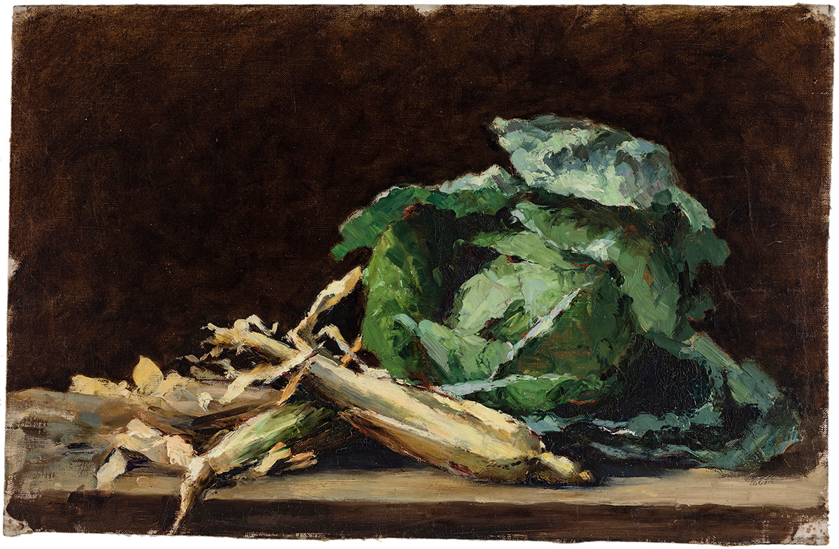 A large leafy head of green cabbage and stalks of corn are set beside each other on a table. The vegetables are brightly lit, with a deep brown backdrop behind them.