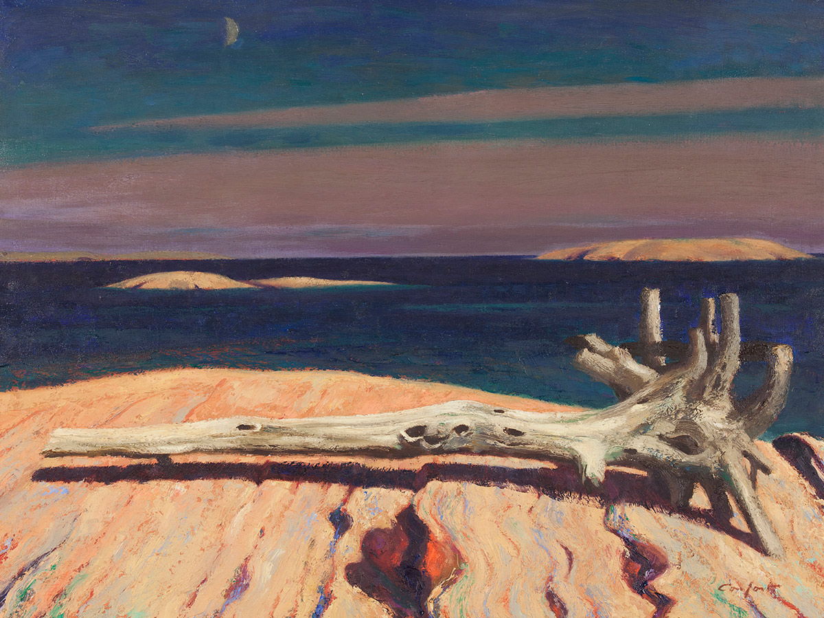 A weathered driftwood tree with roots lies horizontally across a sandy beach. Behind the tree is a vast body of water. The dark sky above is painted in streaks of purple, pink, and blue. A small silver-grey moon appears in the upper left corner.