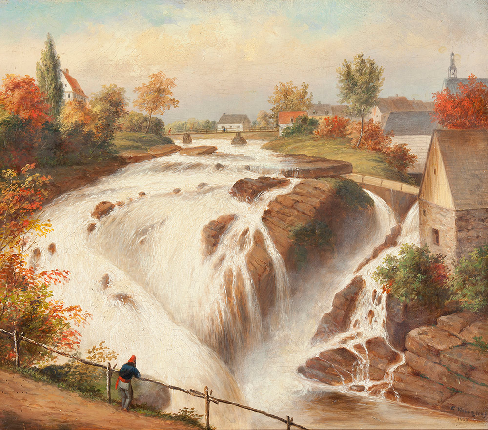 A river flows over large rocks and into a waterfall that fills the frame. Autumn trees and simple houses surround the waterfall. In the bottom left corner there is a small figure leaning against a thin fence, looking out over the river.