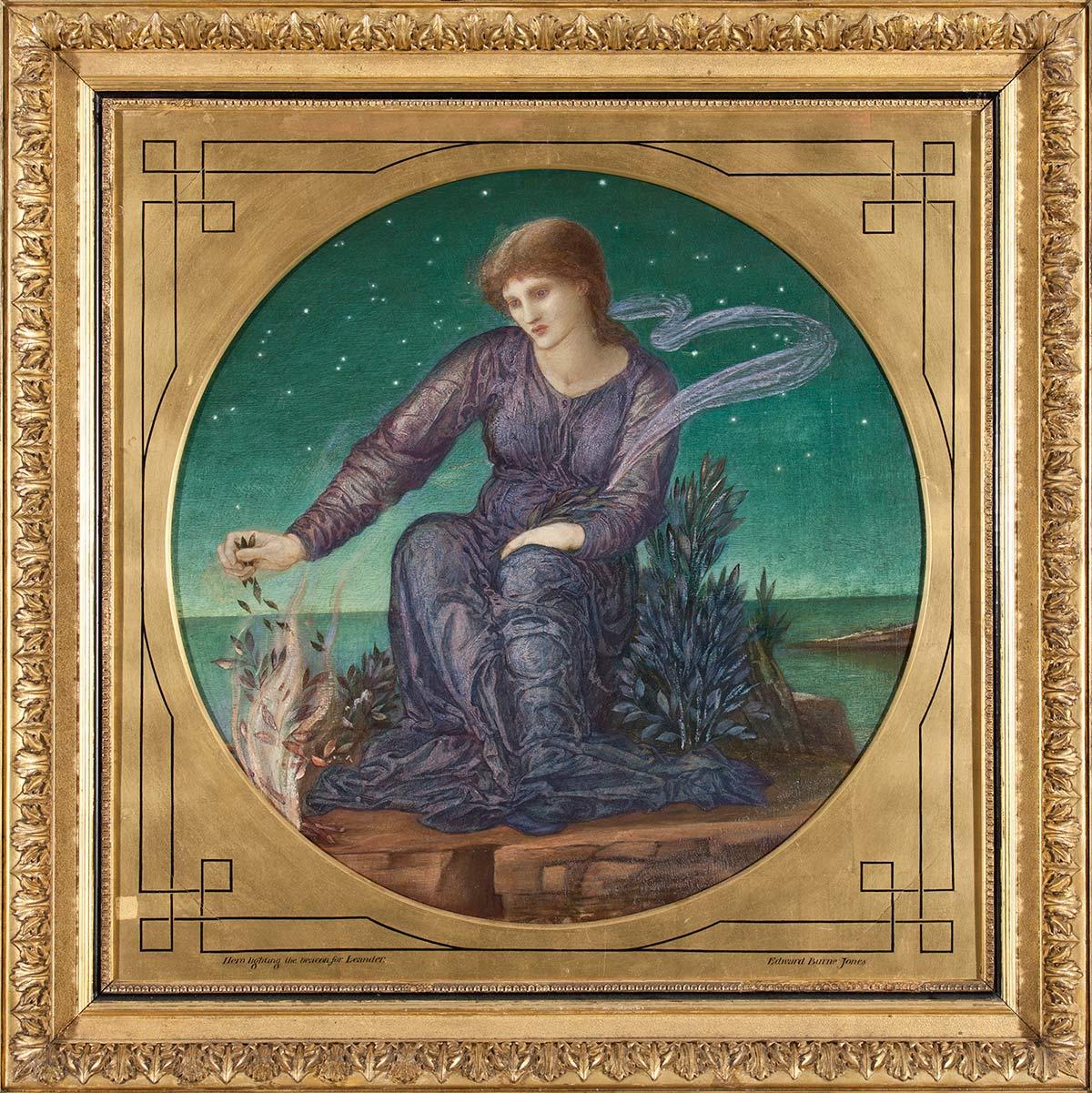 Hero Lighting the Beacon for Leander, by Edward C. Burne-Jones