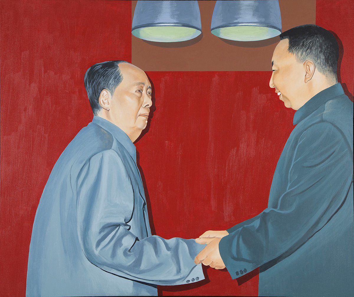A portrait of Mao Tse-tung shaking hands with a younger Asian man in a grey suit. The man clasps Mao's right hand in both of his own and smiles. Above their heads two large light fixtures shine downward, casting dark shadows on the deep red backdrop behind them.