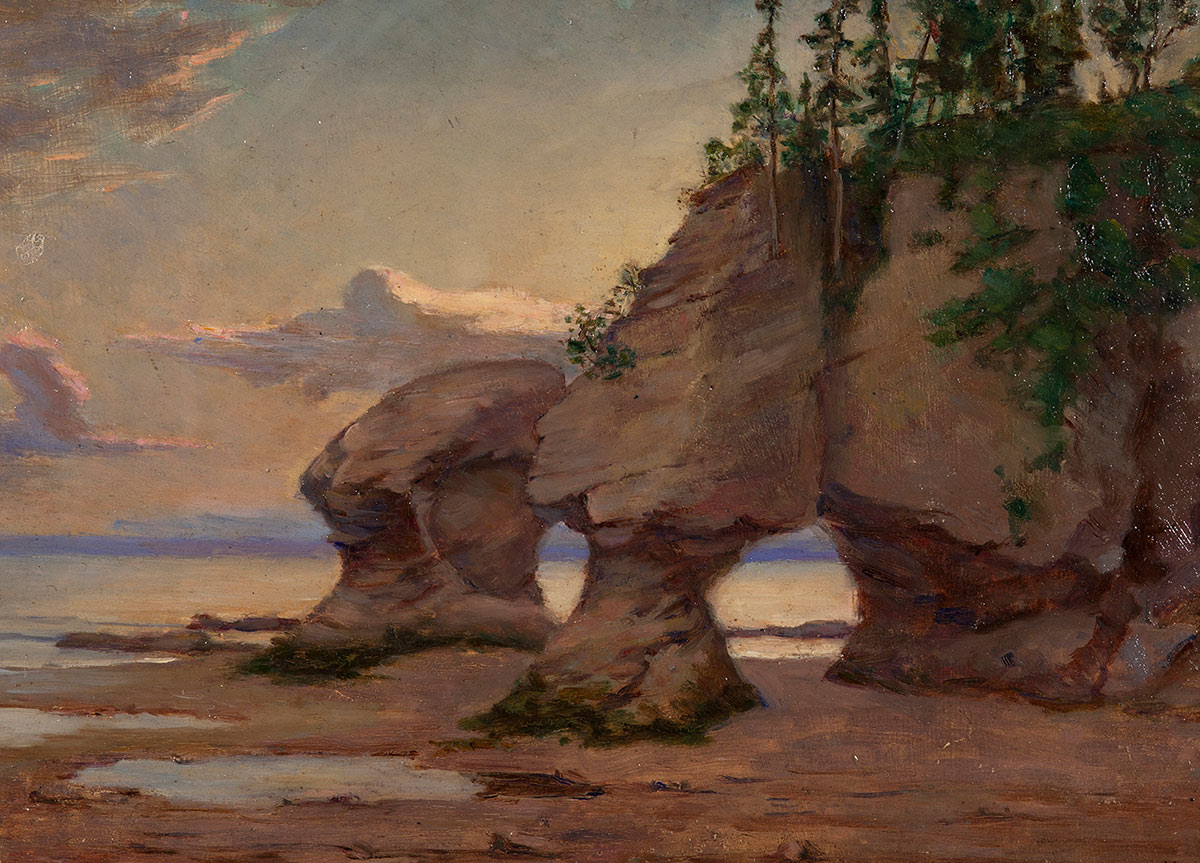 This landscape scene shows Hopewell Rocks at sunset. Tall rock formations painted in warm browns and grey tower over a sandy beach dotted with large tide pools. Dark green trees and vegetation grow on top of the rocks. A purple horizon line separates the sky from the ocean, which are both cast in soft yellow, orange and blue tones.