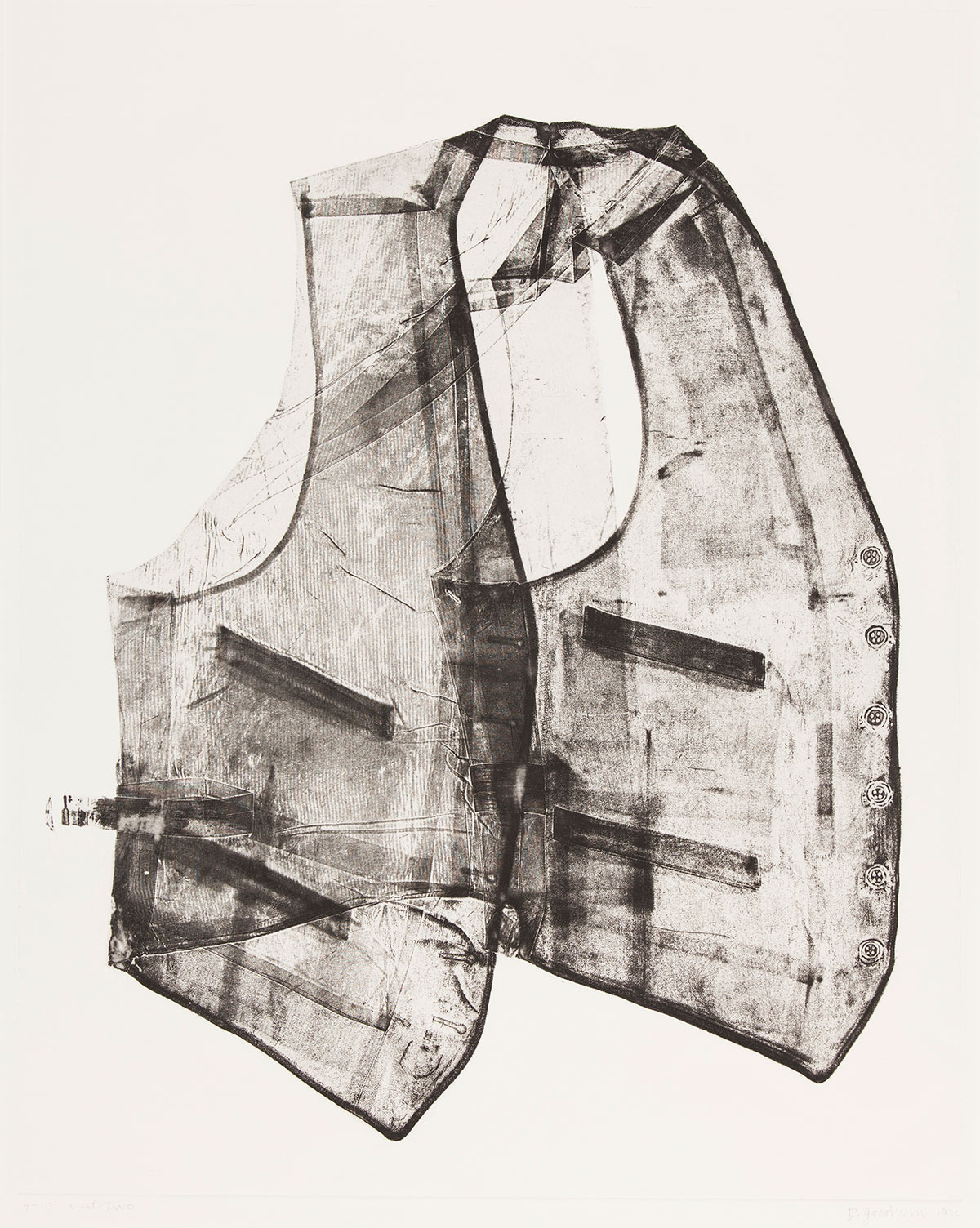 A black and white print depicts a vest. With an x-ray-like quality we can see all the details of the garment including its pockets, buttons and lined texture of the fabric.