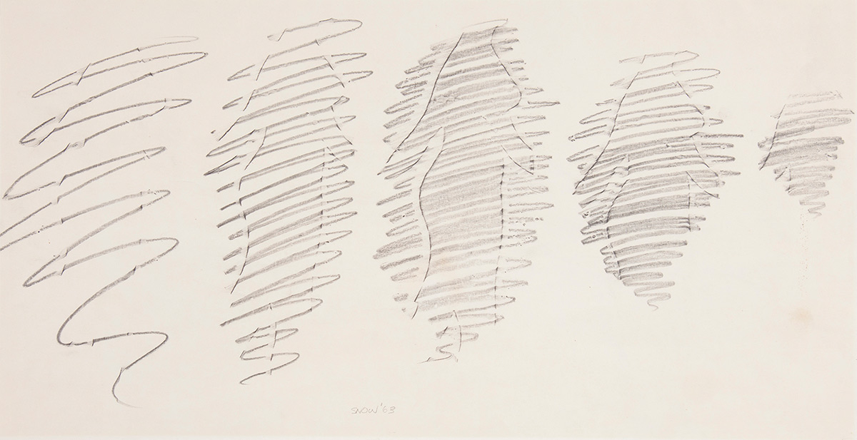Five rough pencil rubbings in a horizontal line each show the outline of the same human body. The drawn line of the first pencil rubbing is loose, revealing little of the silhouette. Moving towards the right, the lines of each subsequent drawing become tighter and denser, showing the body's details more clearly.
