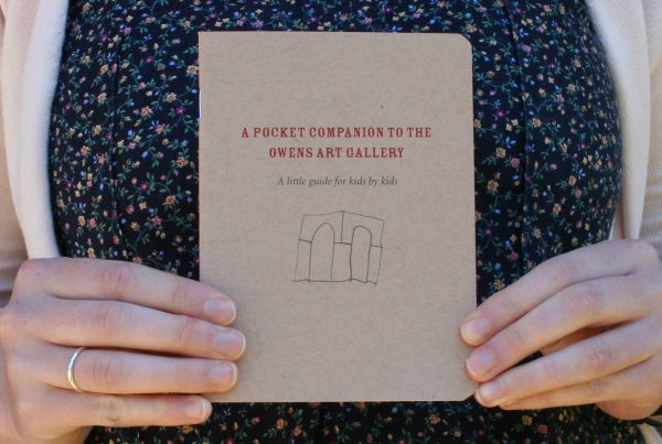 """A pair of hands hold up a small book with a brown cover. Centred on the cover and printed in red are the words """"A POCKET COMPANION TO THE OWENS ART GALLERY"""", followed by """"a little guide for kids by kids"""" in smaller black type. Below the text is a small line drawing of two architectural arches."""