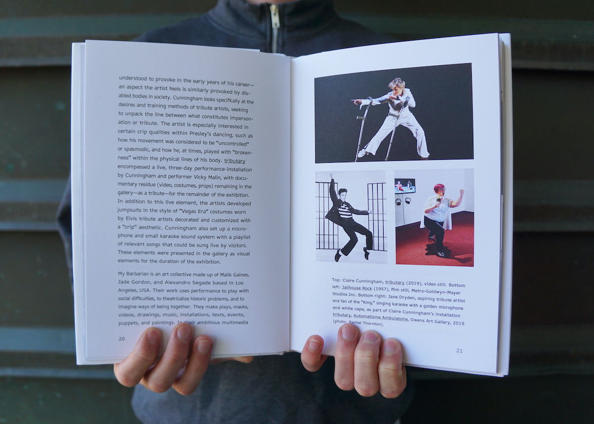Two hands hold open a book. On the left hand side is a white page with black text. On the right are three images; Claire Cunningham strikes a pose with her crutches, Elvis Presley, wearing shiny black shoes, balances on the tips of his toes, Jane Dryden lunges forward while singing into a golden microphone that she holds in her right hand.