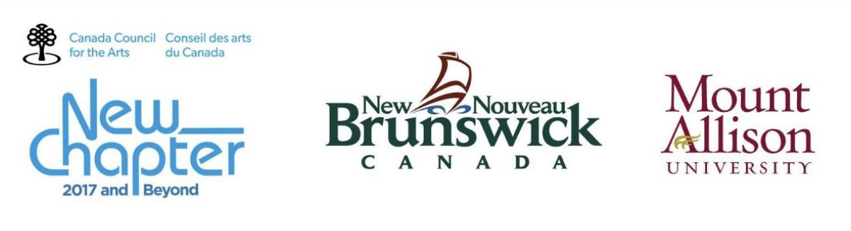 """New Chapter logo. Below the words """"New Chapter"""", a line of text reads, """"2017 and Beyond."""", """"Province of New Brunswick, Canada, bilingual logo that incorporates the image of a stylized ship., and Mount Allison University logo."""