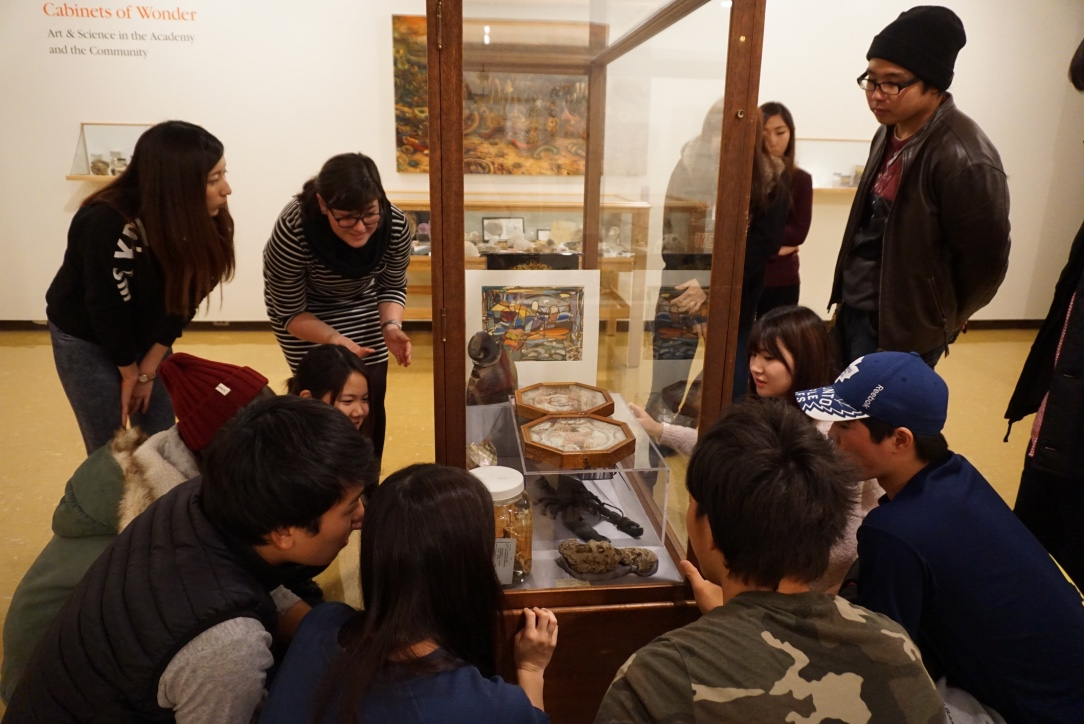 A group of students surround a large glass cabinet. The cabinet holds various specimens including animal bones, shells and fossils.