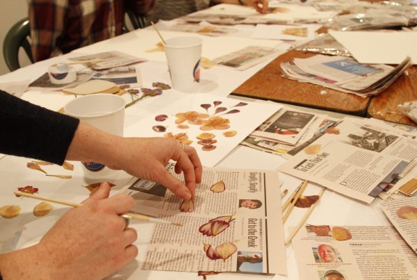 A hand picks up a pressed flower petal from a table, while another hand holds a paintbrush. On the surface of the table, there is an in-progress collage, cups of glue, loose pressed flower petals, plain white paper, and newspaper.
