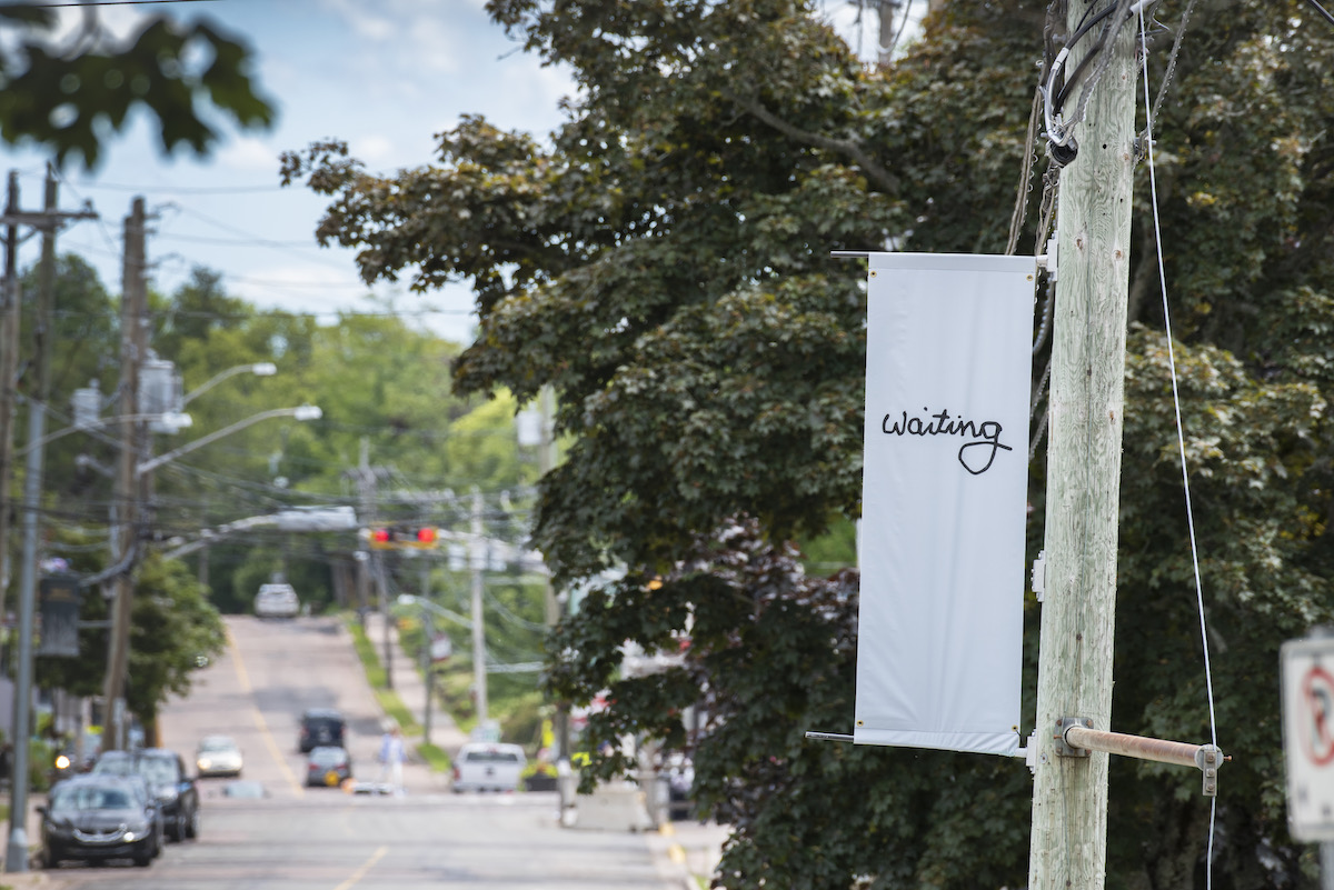 To the right a grey banner on a telephone pole reads 'waiting'. In the background a street is lined with parked cars in font of a large university building.
