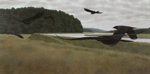 Seven black crows fly across a marsh.